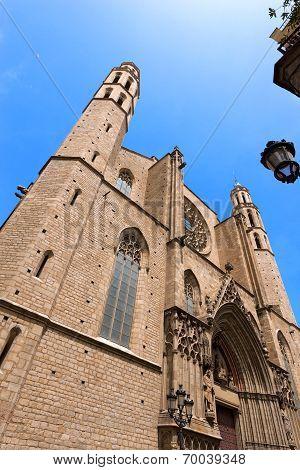 Facade of the Basilica of Santa Maria del Mar (1329-1383) in Catalan Gothic style in Barcelona Catalonia Spain poster