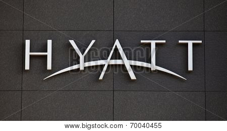 DUSSELDORF, GERMANY - MAY, 2014: Hyatt Hotels brandmark on modern facade.