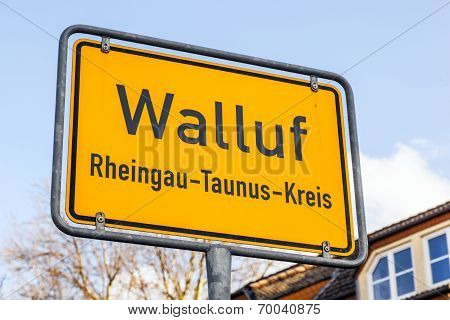 City Limit Sign Walluf - Signage - Germany