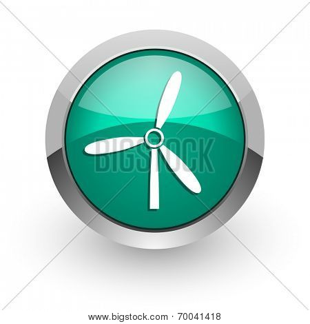 windmill green glossy web icon