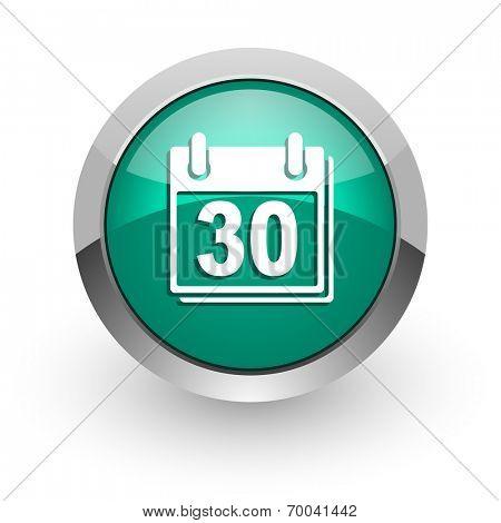 calendar green glossy web icon