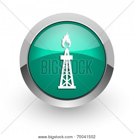 gas green glossy web icon