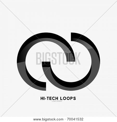 3d black loops abstract symbol, logo. Minimal line art design