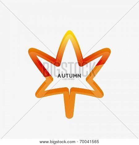 Vector autumn leaf logo, minimal line design