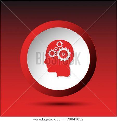 Human brain. Plastic button. Vector illustration.