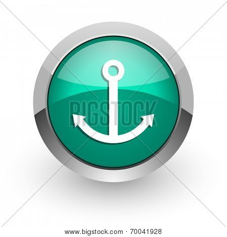 anchor green glossy web icon