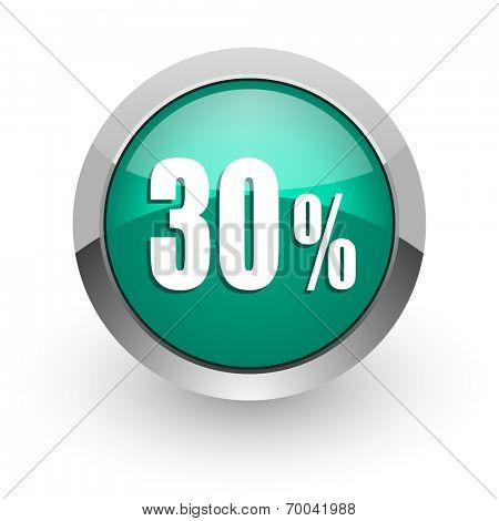 30 percent green glossy web icon