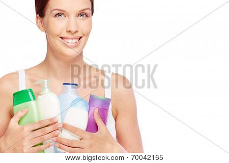 Young woman with bath products