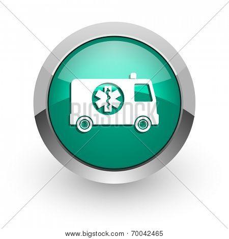 ambulance green glossy web icon