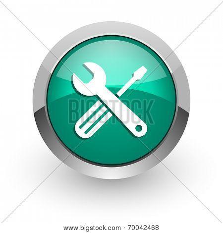 tools green glossy web icon