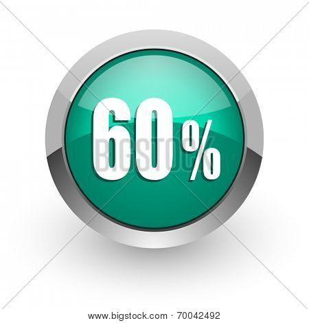 60 percent green glossy web icon