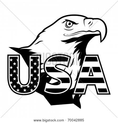 American eagle with USA stylized lettering.