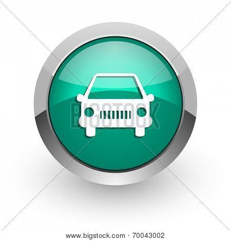 car green glossy web icon