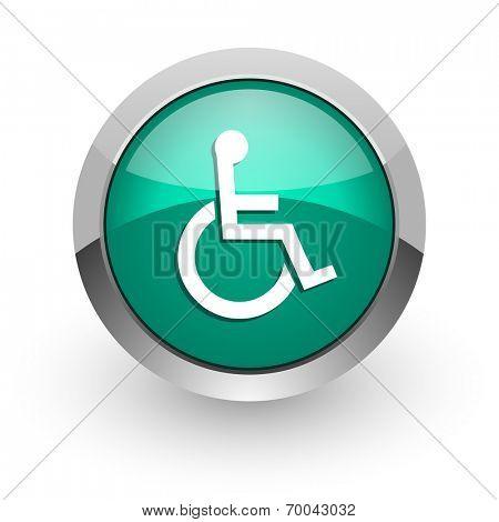 wheelchair green glossy web icon