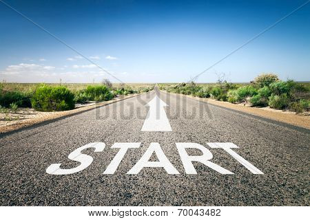 An image of a road to the horizon with text start