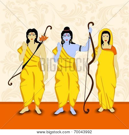 Blue illustration of Lord Rama with his brother Laxman and Goddess Sita in yellow clothes handing a bow in orange background.