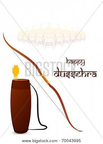 Beautiful illustration of bow and arrow with the shaded face of Ravana with his ten heads on white background.