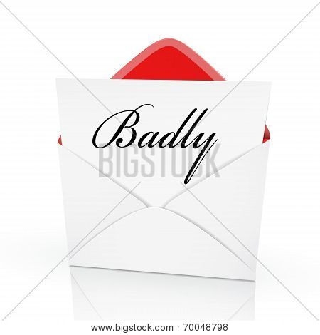 The Word Badly On A Card