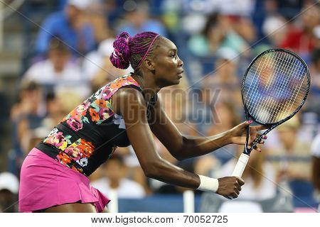 Nine times Grand Slam champion Venus Williams during first round doubles match with teammate Serena