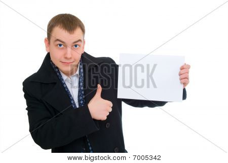 Happy Businessman Hold Empty Blank And Thumb Up