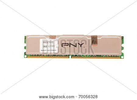 Hayward, CA - August 11, 2014: 2GB stick of PNY DDR2 desktop DRAM