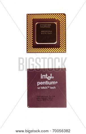 Hayward, CA - August 11, 2014: Early Intel Pentium Microprocessor with MMX technology