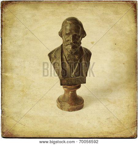 Bust of Giuseppe Verdi on a white background poster