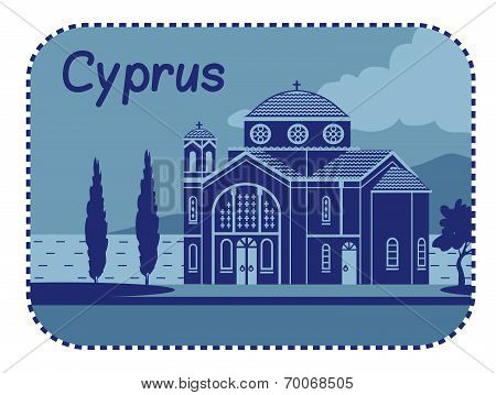 Illustration with Agios Georgios church in Cyprus