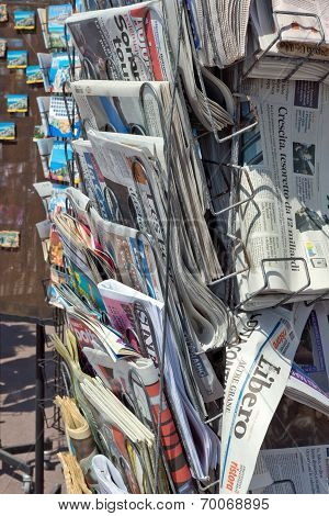 City Of Nice - Newspapers On Sale In A Newsstand