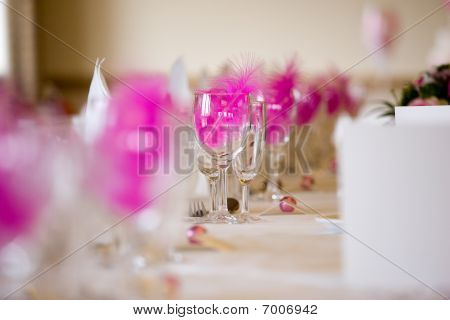 Wedding Reception Table Setting With Pink Feathers