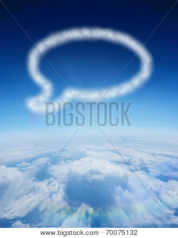 Cloud in shape of speech bubble against blue sky over clouds at high altitude poster