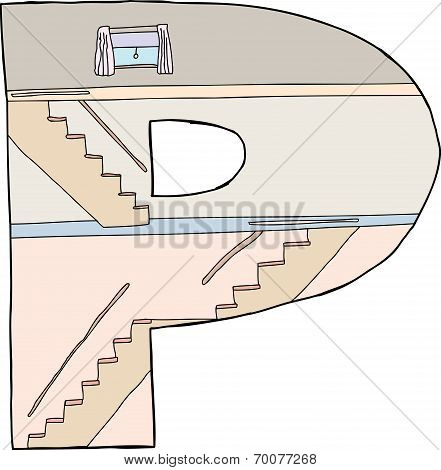 Isolated Letter P House