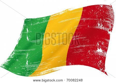 waving Malian grunge flag. flag of  Mali  in the wind with a texture