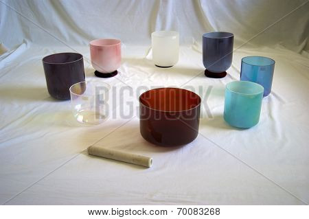 Collection Of Crystal Singing Bowls In Studio
