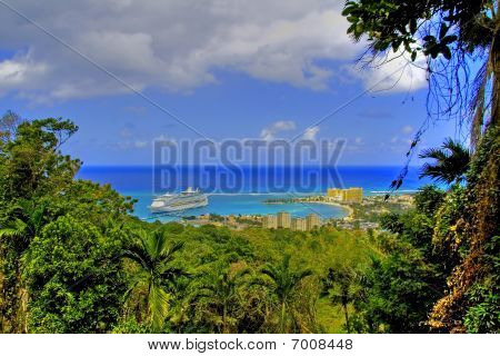 View over Ocho Rios port town Jamaica with anchored cruise liner poster