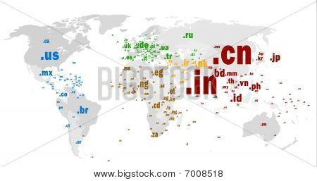 Country Code Top-level Domain World Map ccTLD