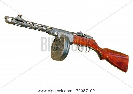 Russian PPsH machine gun isolated on white background. poster