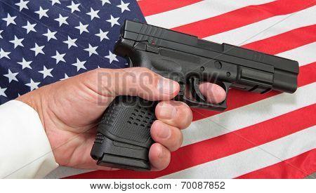 Hand on Flag