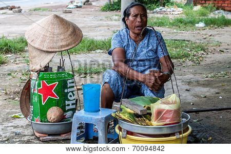 An old hawker woman