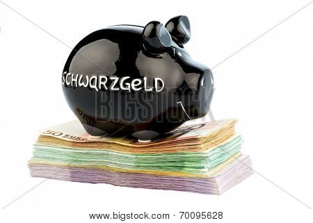 black piggy bank on banknotes, symbolic photo for black money, tax fraud and money laundering