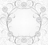 Jewelry border on white lace background. Invitation card poster