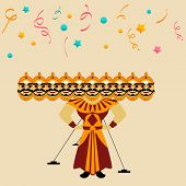 Illustration of a Ravana statue with his ten heads on colorful stars and ribbons decorated background for Happy Dussehra festival.  poster