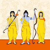 Blue illustration of Lord Rama with his brother Laxman and Goddess Sita in yellow clothes handing a bow in orange background. poster