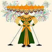 Illustration of Ravana with his ten heads in traditional dress on colorful fireworks decorated background for Dussehra festival celebrations.  poster