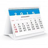 January 2015 desk calendar - vector illustration poster