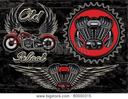 Set Of Retro Emblems On The Motorcycle Theme