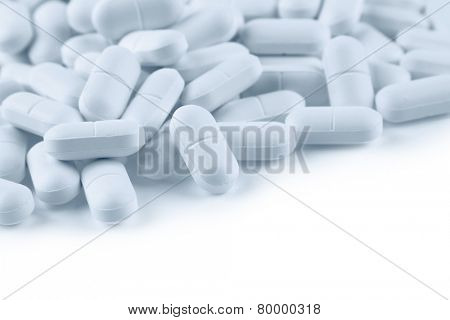 Pile of pills, copy space