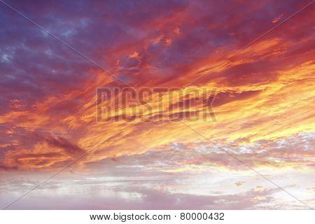 Orange colors in summer sky