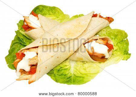 Chicken Filled Tortilla Wraps