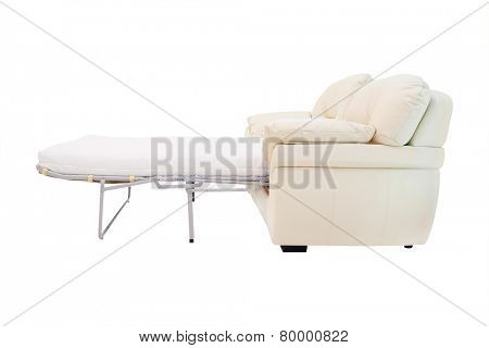 sofa is decomposed in a bed on a white background
